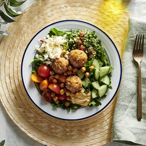 Publix Aprons Chicken Meatball and Hummus Tabbouleh Bowls plated