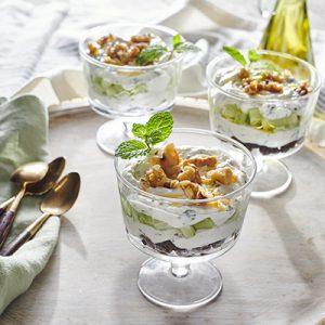 Publix Aprons Mediterranean Yogurt Parfaits in glass bowl.
