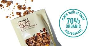 GreenWise Pecan Maple Granola with 70% organic ingredients logo.