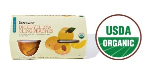 GreenWise Diced Yellow Cling Peahes with USDA Organic logo.