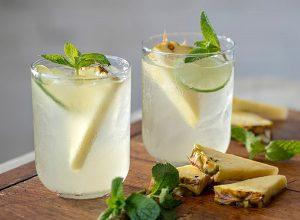 Pineapple Mojito Sangria with pineapples