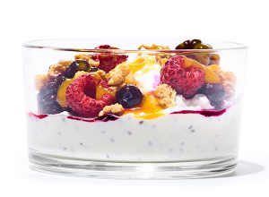 Publix Aprons recipe for Chia Smoothie Bowl with Granola inside of a clear glass bowl with visible layers