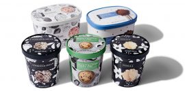 A variety of cartons with frozen yogurt, ice cream and dairy free options in a variety of flavors.