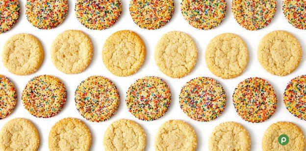 Sugar cookies in a row.