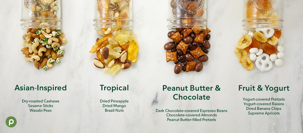 Mason jars filled with customer trail mixed made with various combinations of Publix dry produce snacks