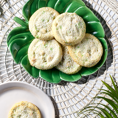 PublixBakery key lime cookiesplated on a green palm leaf shaped plate