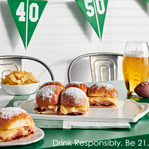 Publix Aprons monte cristo-style sliders recipe plated on tailgate-themed setting.