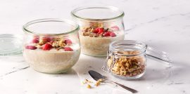 Publix Aprons Overnight Apple Berry Oats Recipe in jars on white surface