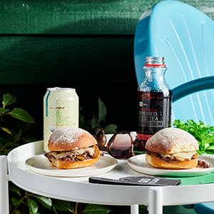Publix Aprons Philly-Style Sliders recipe plated on tailgate-themed setting.