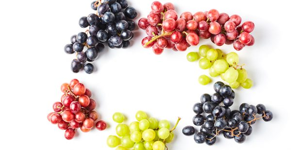 Red, purple and green grapes on the vine on a white background.