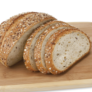Sourdough bread on cutting board.