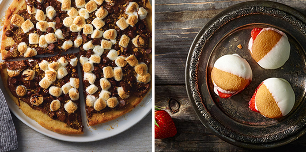 chocolate spread with browned marshmallows and crumbled graham crackers on pizza crust. Cookie sandwiches with creamy filling and sliced strawberries, dipped in white frosting