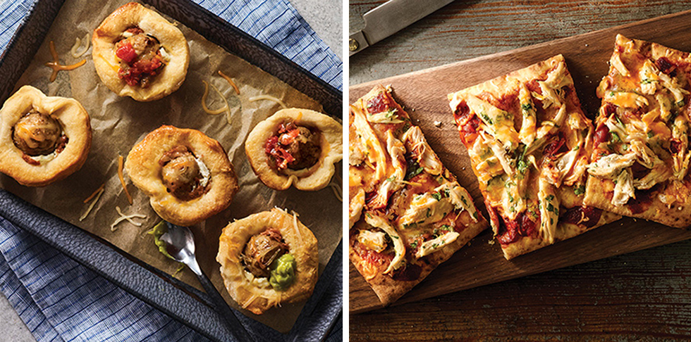 meatballs served with cheese, guacamole and salsa in a pastry on a square plate. Shredded chicken with herbs and sauce on pizza crust on a wooden serving platter