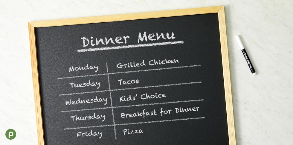 Family Meal Menu options on chalkboard