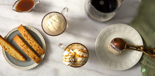 Coffee Affogato. Ice cream with coffee, caramel sauce and biscotti.