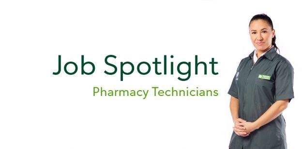 Title of blog series, Job Spotlight: Pharmacy Technician with Publix Pharmacy Technician posing in full uniform