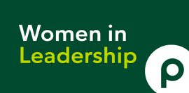 Blog series title, Women in Leadership, on dark green surface with Publix logo at bottom right corner