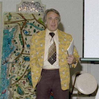 Danish Bakery vice president models his custom-made Mr. Kringle logo jacket